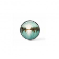 """Snap button cabochon for interchangeable jewelry with an abstract """"landscape"""" pattern in blue, white and brown"""