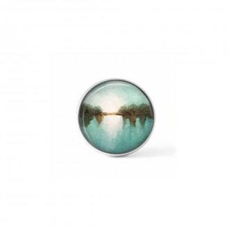 """Bouton cabochon clipsable pour bijoux interchangeables avec un motif abstrait """"paysage"""" bleu, blanc et brun"""