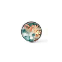 Snap button cabochon for interchangeable jewelry with abstract rust and turquoise foliage pattern