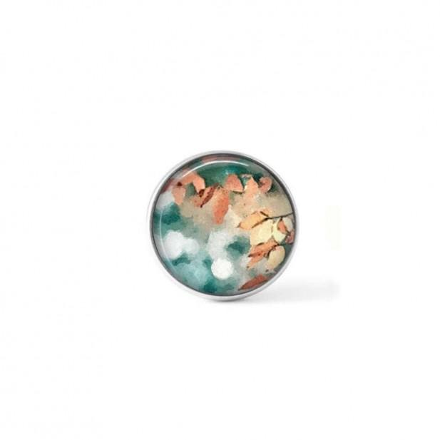 Bouton cabochon clipsable pour bijoux interchangeables avec un motif abstrait feuillage rouille et turquoise