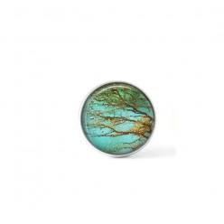 Bouton cabochon clipsable pour bijoux interchangeables avec un motif branches rouilles et turquoises