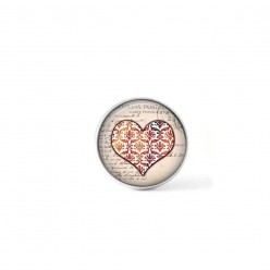 Clip-on snap button for  interchangeable jewelry : damask heart in red tones