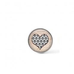 Bouton cabochon clipsable pour bijoux interchangeables : Coeur Damassé noir et blanc