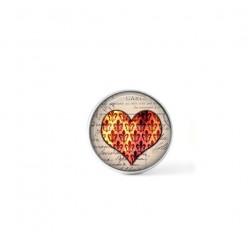 Bouton cabochon clipsable pour bijoux interchangeables : Coeur Damassée Fleurs de lys