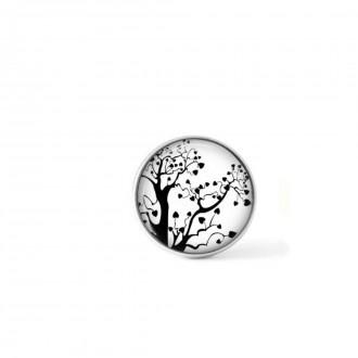 """Bouton cabochon clipsable pour bijoux interchangeables : Arbre naïf en noir et blanc """"zoom"""""""