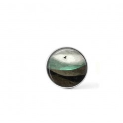 Clip-on snap button for  interchangeable jewelry : abstract landscape with bird in teals and browns