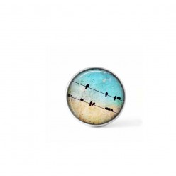 Clip-on snap button for  interchangeable jewelry : birds on a wire and turquoise sky