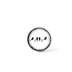 Clip-on snap button for  interchangeable jewelry : birds on a clothes-line in black and white