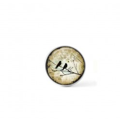Clip-on snap button for  interchangeable jewelry : birds on a branch on a beige background