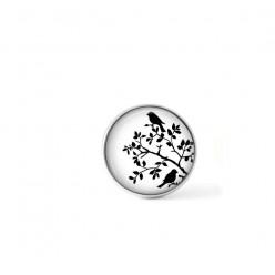 Bouton cabochon clipsable pour bijoux interchangeables : Oiseaux sur la branche en noir et blanc