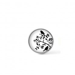 Clip-on snap button for  interchangeable jewelry : birds in the bushes theme