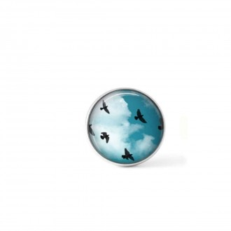 Clip-on snap button for  interchangeable jewelry : Birds in flight and blue sky