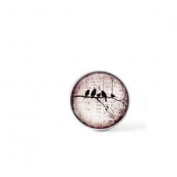 Bouton cabochon clipsable pour bijoux interchangeables : oiseaux sur la branche sur fond rose
