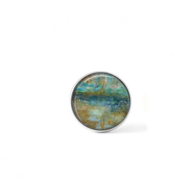 Clip-on snap button for interchangeable jewelry: abstract teal and beige theme