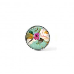 Clip-on snap button for  interchangeable jewelry : Boho floral with pink and hotpink flower on water-green background