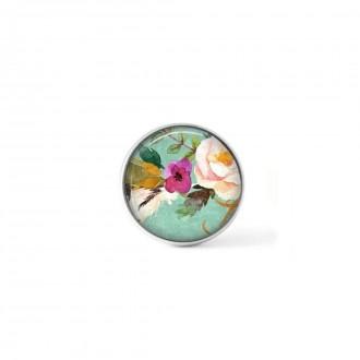 Bouton cabochon clipsable pour bijoux interchangeables : motif boho floral fond vert d'eau fleur rose