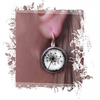 Boucles d'oreilles dormeuses thème pissenlit noir et blanc