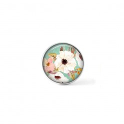 Clip-on snap button for  interchangeable jewelry : Boho floral white and pink flowers on water green background