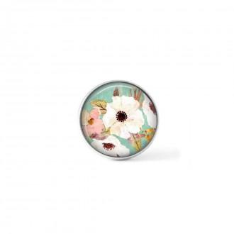 Bouton cabochon clipsable pour bijoux interchangeables : motif boho floral vert d'eau et fleurs blanches