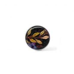 Bouton cabochon clipsable pour bijoux interchangeables : motif boho floral sur fond noir - branches et fleur bleue