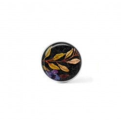 Clip-on snap button for  interchangeable jewelry : Boho floral laurel leaf branches and blue flowers on black background