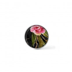 Clip-on snap button for  interchangeable jewelry : Boho floral Pink roses and branches on black background