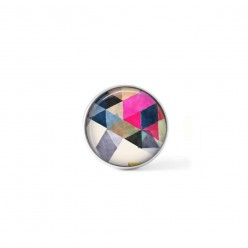 Clip-on snap button for  interchangeable jewelry : Boho watercolor triangles in deep magenta