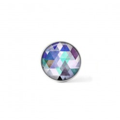 Clip-on snap button for  interchangeable jewelry : Boho watercolor triangles in blue hues