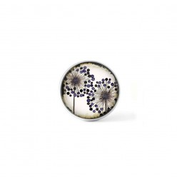 Bouton cabochon clipsable pour bijoux interchangeables : Agapanthes doubles