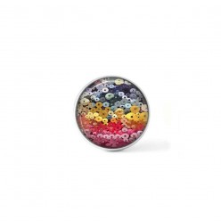 Clip-on snap button for  interchangeable jewelry : coton spool in multicolor theme