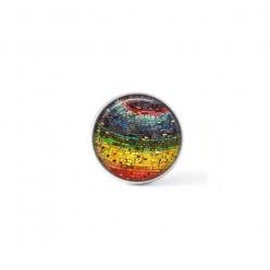Bouton cabochon clipsable pour bijoux interchangeables : mosaïques multicolore