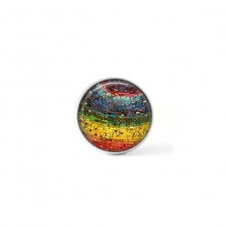 Clip-on snap button for  interchangeable jewelry : rainbow abstract theme