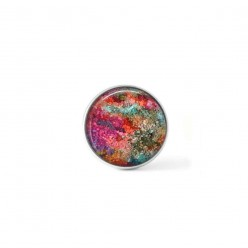Clip-on snap button for  interchangeable jewelry : abstract theme in hot pink and khaki