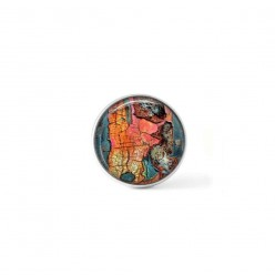 Clip-on snap button for  interchangeable jewelry : flaked paint theme in apricot and turquoise