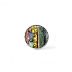 Clip-on snap button for  interchangeable jewelry : flaked paint theme in yellow and green