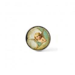 Bouton cabochon clipsable pour bijoux interchangeables : cherubin et lune vert d'eau