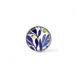 Bouton cabochon clipsable pour bijoux interchangeables : motif floral indigo et jaune