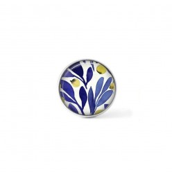 Clip-on snap button for  interchangeable jewelry : Indigo and yellow olive leaves