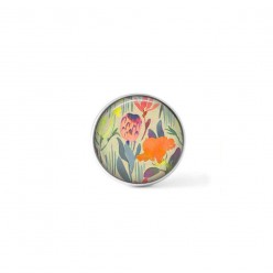 Clip-on snap button for  interchangeable jewelry : Pink and orange watercolor vegetal theme
