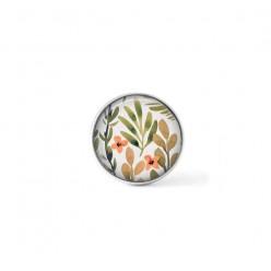 Bouton cabochon clipsable pour bijoux interchangeables : motif floral nuances de vert et abricot