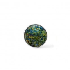 Clip-on snap button for  interchangeable jewelry : tangled string theme in emerald and turquoise hues