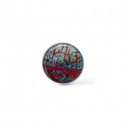 Clip-on snap button for interchangeable jewelry : tangled string theme in red and blue