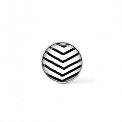 Clip-on snap button for  interchangeable jewelry : hand-drawn chevrons in black and cream