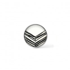 Clip-on snap button for  interchangeable jewelry : Hand-drawn chevrons overlapping in black and cream