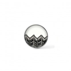 Clip-on snap button for  interchangeable jewelry : hand-drawn detailed chevron pattern in black and white