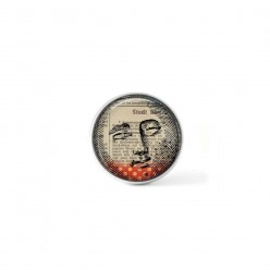 Clip-on snap button for  interchangeable jewelry : moonface mixed-media theme