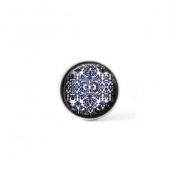 Bouton cabochon clipsable pour bijoux interchangeables : Thème Porcelaine antique bleu
