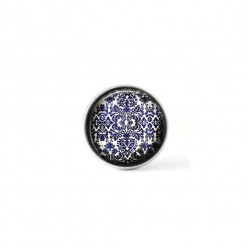 Clip-on snap button for  interchangeable jewelry : vintage blue and white wall-paper theme
