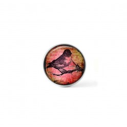 Clip-on snap button for  interchangeable jewelry : mixed media stamped bird on reddish background