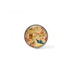 Bouton cabochon clipsable pour bijoux interchangeables : Oiseau envolé vintage